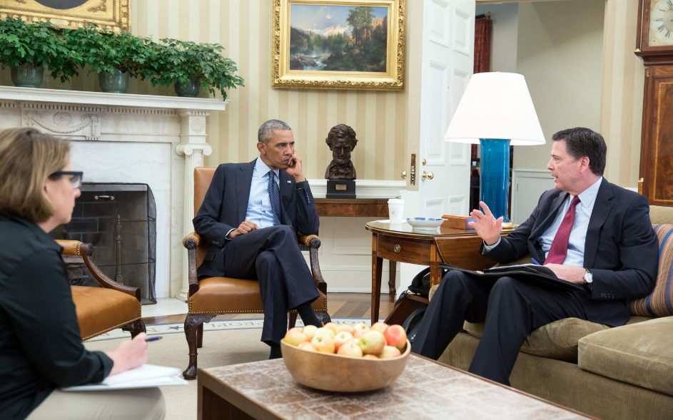President Barack Obama receives an update in the Oval Office from FBI Director James Comey and Homeland Security Advisor Lisa Monaco on the mass shooting in Orlando, Fla., June 12, 2016. Also attending the meeting were Chief of Staff Denis McDonough, National Security Advisor Susan E. Rice and Deputy National Security Advisor Ben Rhodes. (Official White House Photo by Pete Souza)